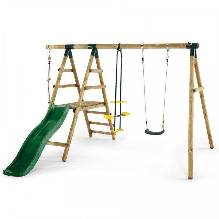Outdoor Swing Set Wooden Play Deck Garden Slide Climbing Frame ...