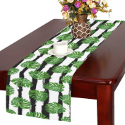 InterestPrint Tropical Leaves Polyester Table Runner Placemat 36cm x 180cm , Black and White Stripes Tablecloth for Office Kitchen Dining Wedding Party Home Decor