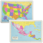 Painless Learning Educational Placemats Sets USA And Mexico/Central America Maps Non Slip Washable