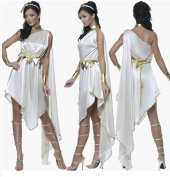 Stuffwholesale Halloween Party Costume Role-playing Games Greek Goddess Princess Dress with Jewellery Accessory