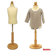 6 Months Child/Kids Body Dress Form Mannequin White Jersey Form Cover with Wooden Base