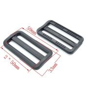 5.1cm Plastic Curve Tri-glide Triglides Slider Adjustable Buckle Black 10 Pack