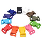 1.6cm Contoured Plastic Side Release Buckles for Paracord Bracelets,Multiple Colours 12 Pack