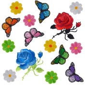 Coopay 15 Pieces Flowers Butterfly Iron on Patches Embroidery Applique Patches for Arts Crafts DIY Decor, Jeans, Jackets, Clothing, Bags