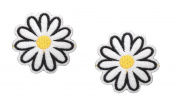 2 pieces WHITE DAISY FLOWER Iron On Patch Fabric Applique Motif Children Decal 1.8 x 1.8 inches