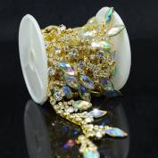 De.De. 1 Yard AB Resin Crystal Clear Glass Rhinestone Bridal Trim Fashion Chain Golden