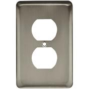Franklin Brass W10249-SN-C Stamped Round Single Duplex Wall Plate/Switch Plate/Cover, Satin Nickel