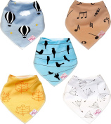 Baby Bandana Bibs For Drooling Teething | 5 Pack Gift Set | Infant and Toddler Boys & Girls Unisex | Absorbent, Hypoallergenic, Organic Cotton with 2 Snaps | By Little Heart