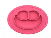 Silicone Placemat happy face+ reusable bag plate for Kids, Babies, and Toddlers,with Strong Suction for Dining Table and Highchair - Dishwasher, Microwave Safe; Non-toxic, FDA Approved, BPA Free pink