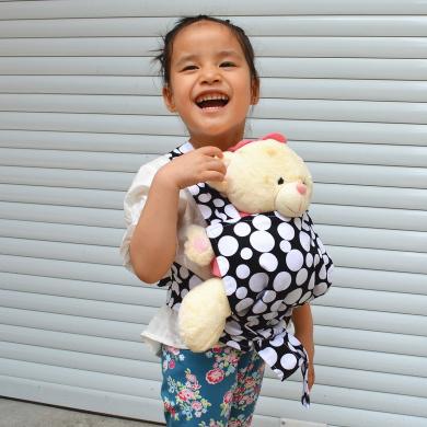 Sigzagor Baby Doll Carrier Mei Tai Sling Toy For Kids Children Toddler Front Back,Mini Carrier,Owl,Dot,Flower,Kaleidoscope (Dot)