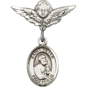 Sterling Silver Baby Badge with St. Peter the Apostle Charm and Angel w/Wings Badge Pin 2.2cm X 1.9cm