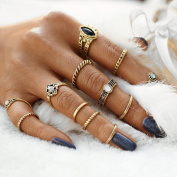 DDLBiz 12pcs/Set Women Bohemian Vintage Silver Stack Fine Rings Above Knuckle Rings Set