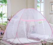 DmsBanga 2017 New Camping Most Popular Mosquito Net for Bed Pop Up Nursery Guard Tent Folding Bottom Canopy Zipper Baby Toddlers Kids Adult Yurt Playhouse With Stand Pink