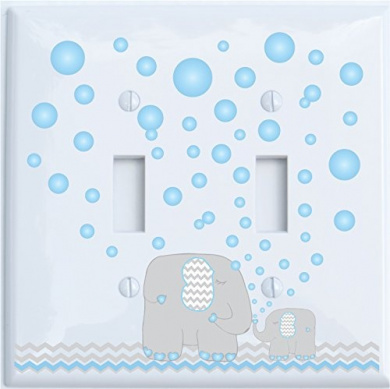 Elephant Light Switch Plate Covers / Double Toggle Switch Plate / Elephants with Grey and Blue Chevron Switch Plates with Blue Bubbles (Double Toggle)