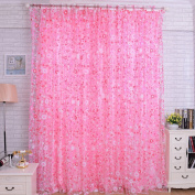 LADEY Small Floral Solid Sheer Window Curtains Grommet Voile Panels for Bedroom