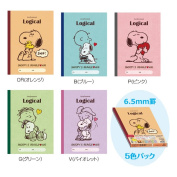 Snoopy logical notebook (five packs) B ruled line .6.5mm S-91-5P
