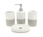 Country Club 4pc Bathroom Set Natural And Cream Toothbrush Holder Soap Tumbler