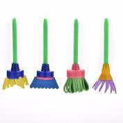 Lanlan 4Pcs/set Kids Creative Drawing Toys DIY Flower Graffiti Sponge Brushes Art Supplies Brush Seal Painting Tool