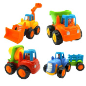Push and Go Friction Powered Car Toys for Baby Toddlers- Dump Truck, Cement Mixer, Bulldozer, Tractor, Early Educational Cartoon