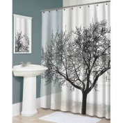 Black Tree Sketch Pattern Waterproof Fabric Shower Curtain . Bathroom