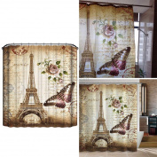 Waterproof Shower Bathroom Curtain Retro Butterfly Curtain With Hooks 180 X 180