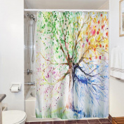 3d Waterproof Shower Curtain, 180 X 180cm Fabric Polyester Shower Curtains With
