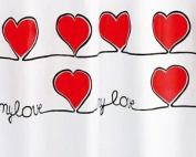 Gedy Red Hearts Shower Curtain Extra Long 180x200cm & Rings