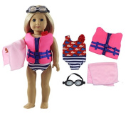 HongShun Fashion Doll Clothes 4 PCS Outfit Swimsuit+life jacket+towel for 46cm American Girl Doll