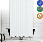 Antibacterial White Fabric Shower Curtain, Narrow Width , Extra Long - 300cm X 120cm