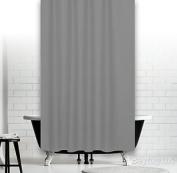 "Plain Grey Fabric Shower Curtain, Narrow Width 120 X 180cm [47"" X 71""]"