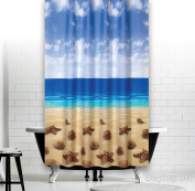 Beautiful Fabric Shower Curtain 180cm Wide By 180cm Long, Rings Included Beach