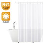 Tatkraft Light White Shower Curtain Liner Peva Waterproof 180x180cm + 12 Shower