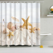 Beach Starfish Shower Curtain, Qile 3d Premium Waterproof Mildew-resista