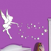 "Walplus Mirror Wall Art ""Little Girl"" Wall Stickers Removable Self-Adhesive Mural Decals Vinyl Home Decoration DIY Living Bedroom Office Décor Kids Room, Silver"