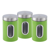 Stainless steel Canister set 3 pcs with Window in 6 colours