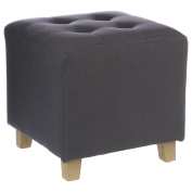 Square footstool - LINEN and COTTON - Colour MOUSE GREY