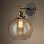 BAYCHEER Vintage Globe Shade Sconce Wall Light with Clear Glass Shade