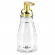 InterDesign - Foaming Soap Dispenser for Bathroom or Kitchen - Clear/Gold/Brass - 7.6cm x 19cm , 410ml