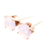 Rose Gold stud earrings expertly made with Rose Water Opal crystal from ®.