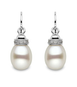 Kimura Pearls 9-9.5 mm Drop Shape Freshwater Pearl and Cubic Zirconia Sterling Silver Hook Earrings