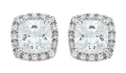 Ornami Sterling Silver CZ Set Square Earring Studs