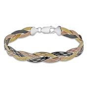 Tuscany Silver Sterling Silver 4 Tone 3 Plait Willow Herringbone Bracelet of Length 19cm19