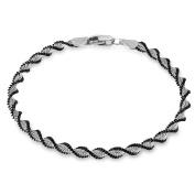 Tuscany Silver Sterling Silver Men's Oxidised Satin twist Bracelet of Length 19cm19