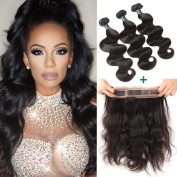 Ashimary Body Wave Bundles with 360 Frontal Lace Closure with Bundles Pre Plucked Malaysian Virgin Hair with Closure 360 Lace Frontal