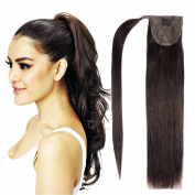 50cm Human Hair Ponytail Extensions Wrap Around Ponytails Clip in Ponytail 100g-2# Dark Brown with Accessory Hair Ties and Pins