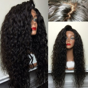 Oxeely Synthetic Front Lace Wigs Water Wave Front Hand Knotted Heat Resistance Fibre Full Wigs Natural Black 26``