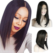 Lanting Hair Short Bob Wigs Silk Straight Black Colour Synthetic Lace Front Wig Heat Resistant Fibre Hair Wigs for Fashion Women 25cm