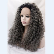 Kinky curly synthetic ombre 1b#/dark grey lace front wig for woman short dark roots grey hair