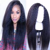 Brazilian Virgin Coarse Yaki Human Har Wigs Italian Yaki Human Hair U Part Wigs For Black Women Natural Colour Kinky Straight Left U Part Wig