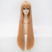 Netgo Women's Long Straight Orange Cosplay Wigs with Bang Heat Resistant Synthetic Anime Cosplay Party wigs